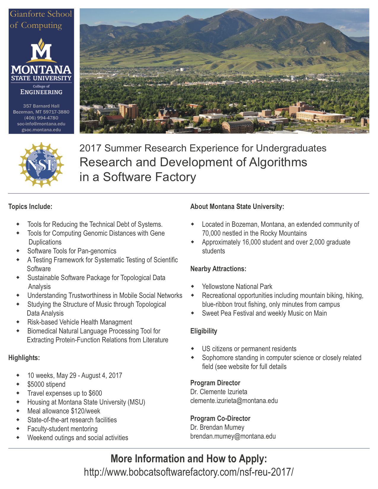 REU: Research and Development of Algorithms in a Software