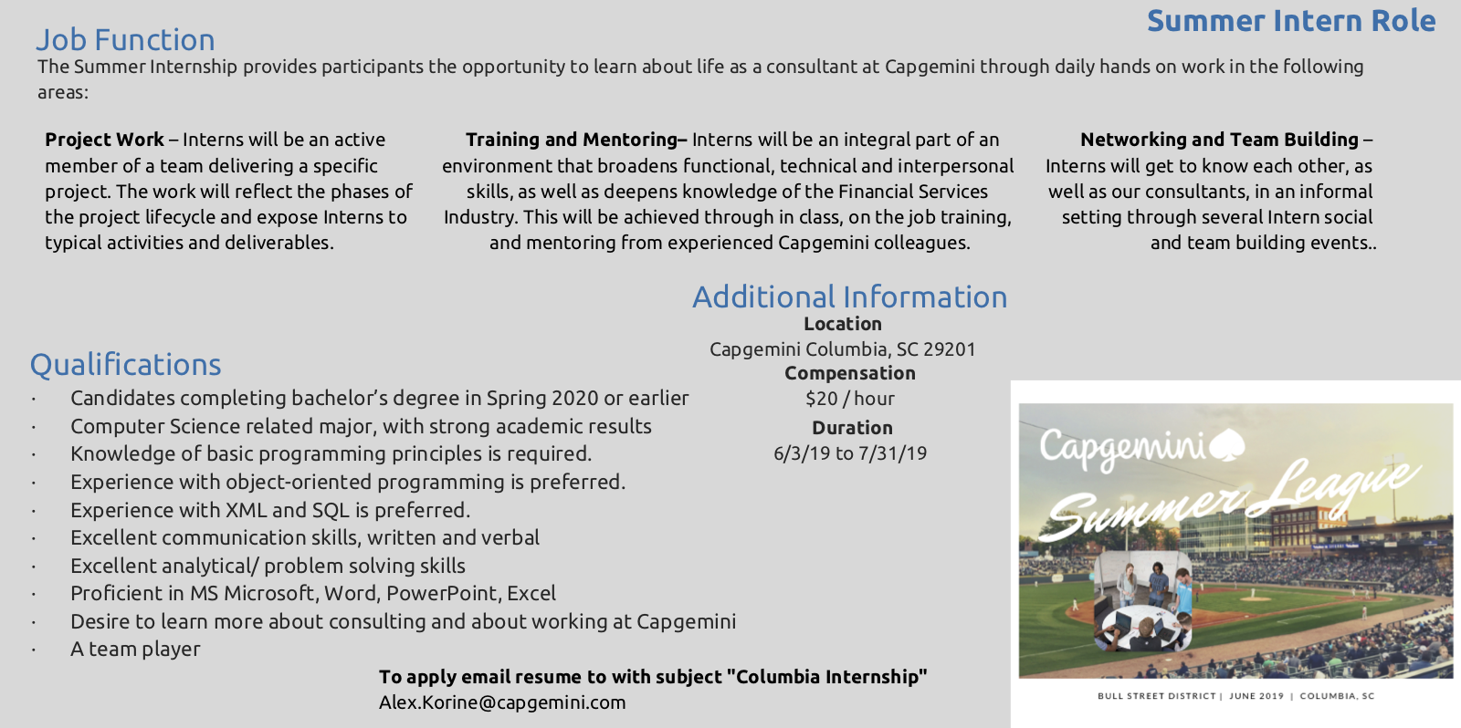 Summer Internship At Capgemini Computer Science Engineering